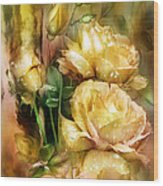 Raindrops On Yellow Roses Wood Print