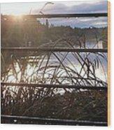 Raindrops To River Sunrise Wood Print