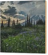 Rainier Abundance Of Flowers Wood Print