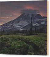 Rainier Fire Mountain Wood Print