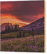 Rainier Fire Mountain Panorama Wood Print