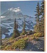 Rainier From Paradise Glacier Wood Print