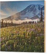 Rainier Golden Sunlit Meadows Wood Print