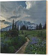 Rainier Meadows Thunder Skies Wood Print