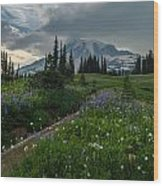 Rainier Meadows Wandering Wood Print