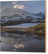 Rainier Reflected In A Glacial Tarn Wood Print
