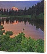 Rainier Reflections Wood Print