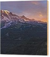 Rainier Soaring Skies Wood Print