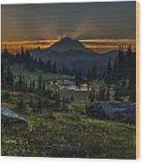 Rainier Sunset Basin Wood Print