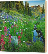 Rainier Wildflower Creek Wood Print