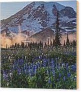 Rainier Wildflower Meadows Pano Wood Print