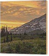 Rainier Wildflowers Meadow Sunset Wood Print