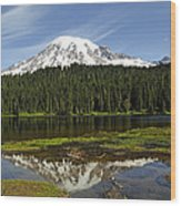 Rainier's Reflection Wood Print