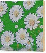 Raining White Flower Power Wood Print