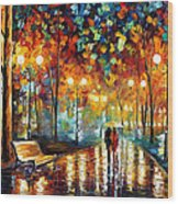 Rain's Rustle 2 - Palette Knife Oil Painting On Canvas By Leonid Afremov Wood Print