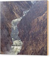 Rainstorm Over Grand Canyon Of The Yellowstone Wood Print