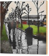 Rainy At The Pier Wood Print