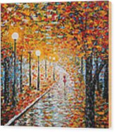 Rainy Autumn Day Palette Knife Original Wood Print