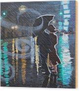 Rainy City Street Wood Print