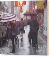 Rainy Corner - New York City Wood Print