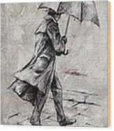 Rainy Day #07 Drawing Wood Print by Emerico Imre Toth