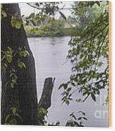 Rainy Day At The River Wood Print