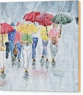 Rainy Day In Rome Wood Print