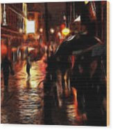 Rainy Day In Soho Wood Print