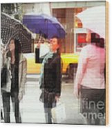Rainy Day In The City - Blue Pink And Polka Dots Wood Print