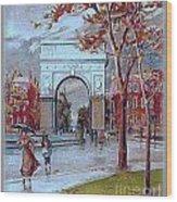 Rainy Day In Washington Square- New York City- 1905 Wood Print