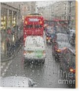 Rainy Day London Traffic Wood Print
