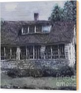 Rainy Day Long Ago House Wood Print