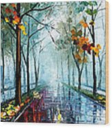 Rainy Day - Palette Knife Oil Painting On Canvas By Leonid Afremov Wood Print