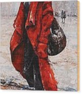 Rainy Day - Red And Black #2 Wood Print by Emerico Imre Toth