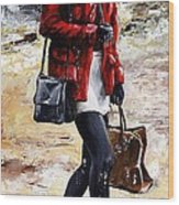 Rainy Day - Woman Of New York 09 Wood Print by Emerico Imre Toth