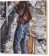 Rainy Day - Woman Of New York 15 Wood Print