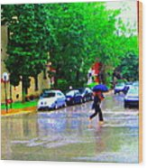Rainy Days And Mondays Girl Running With The Blue Umbrella Montreal Art City Scenes Carole Spandau Wood Print