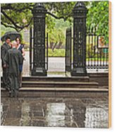 Rainy Destination Wedding In Jackson Square New Orleans Wood Print