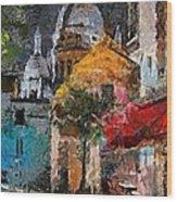 Rainy Evening In Montmartre Wood Print