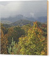 Rainy Fall Day In The Mountains Wood Print