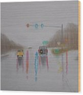 Rainy Foggy Drive In The Country  Wood Print