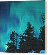 Rainy Lake Lights Wood Print