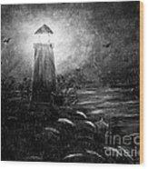 Rainy Night At The Lighthouse Wood Print