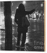 Rainy Night - Hailing A Cab Wood Print