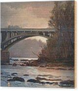Rainy River Wood Print