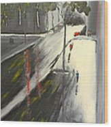 Rainy Street In Melbourne Wood Print