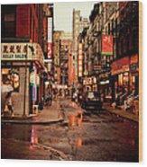 Rainy Street - New York City Wood Print by Vivienne Gucwa