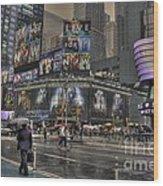 Rainy Times Square Wood Print