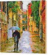 Rainy Walk In Venice Wood Print