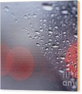 Rainy Windshield Brake Lights Wood Print
